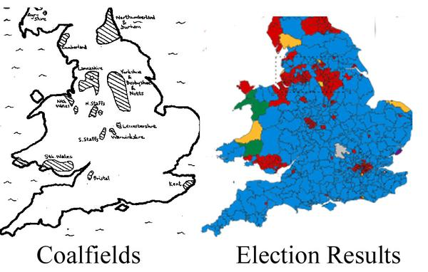 Distribution of Labour seats compared to England and Wales coalfields.
