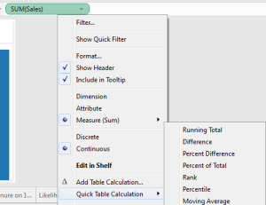 Showing the formula behind a Tableau quick table calculation